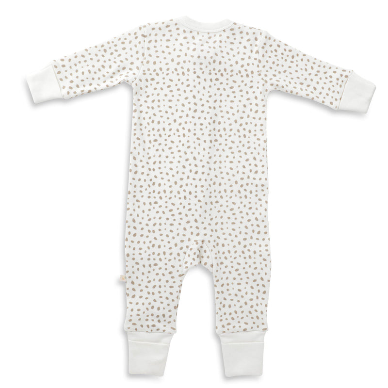 Organic Cotton '2- Way' Zipper Romper - Nola Brown Dots-Makemake Organics