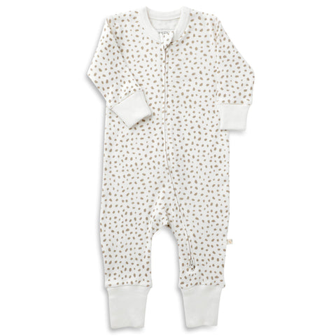 Organic Cotton '2- Way' Zipper Romper - Nola Brown Dots