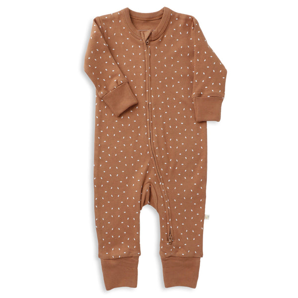 Organic Cotton '2 - Way' Zippered Romper - Aubrey Ginger Fleck-Makemake Organics