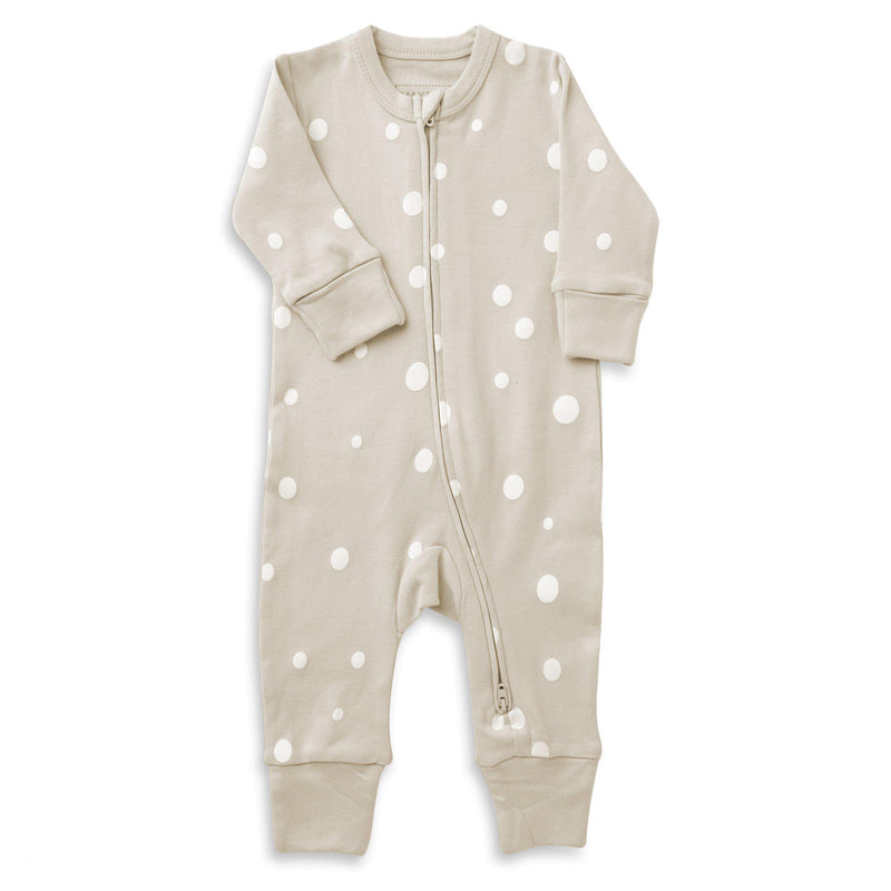 Organic Cotton '2 - Way' Zippered Romper - Eli Oat Polka-Makemake Organics