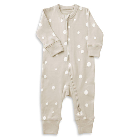 Organic Cotton '2 - Way' Zippered Romper - Eli Oat Polka