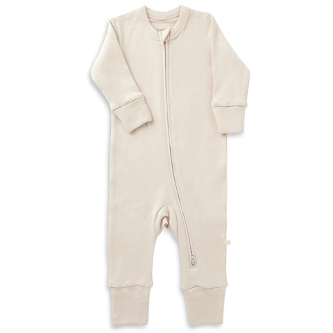 Organic Cotton '2 - Way' Zippered Romper - Eli Oat
