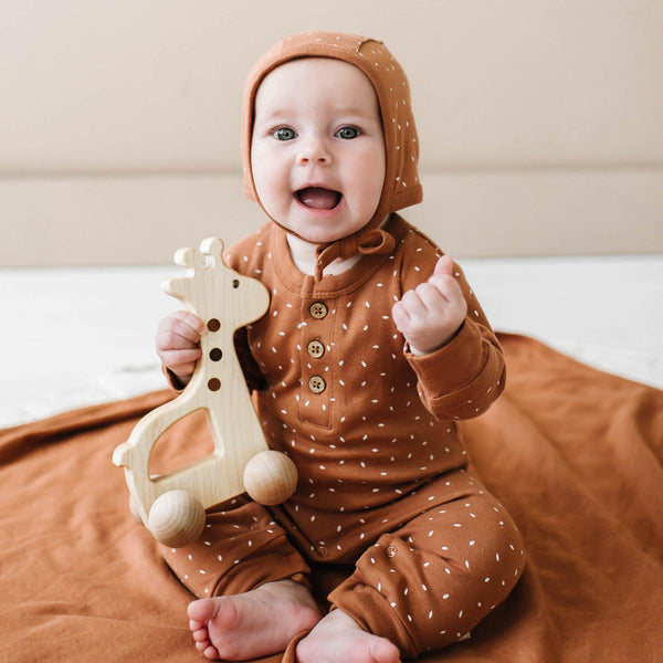 Organic Cotton Baby Playsuit - Aubrey Ginger Fleck-Makemake Organics