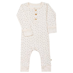 Organic Cotton Baby Playsuit - Cobi Blue Fleck-Makemake Organics