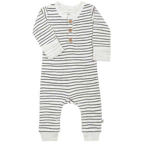 Organic Cotton Buttoned Romper - Cobi Blue Stripes