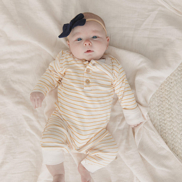 Organic Cotton Baby Playsuit - Luna Yellow Stripes-Makemake Organics