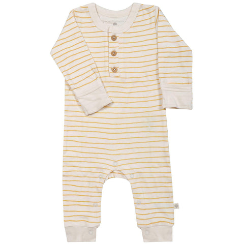 Organic Cotton Buttoned Romper - Luna Yellow Stripes