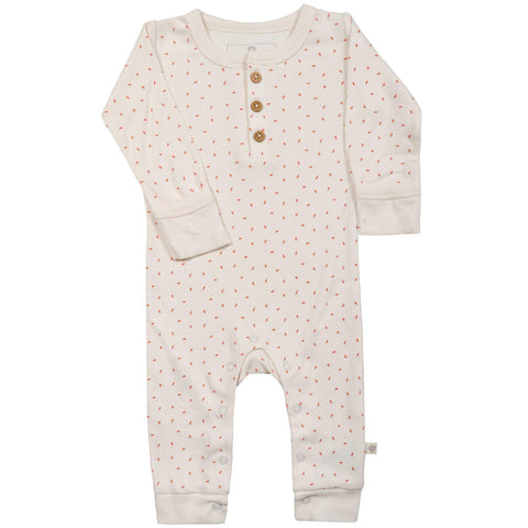 Organic Cotton Buttoned Romper - Mila Pink Fleck