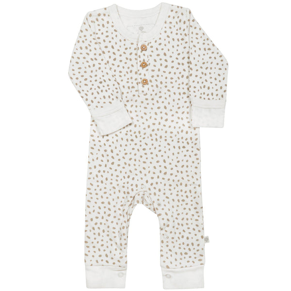 Organic Cotton Baby Playsuit - Nola Brown Dots-Makemake Organics