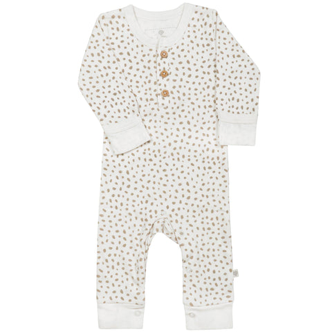 Organic Cotton Buttoned Romper - Nola Brown Dots