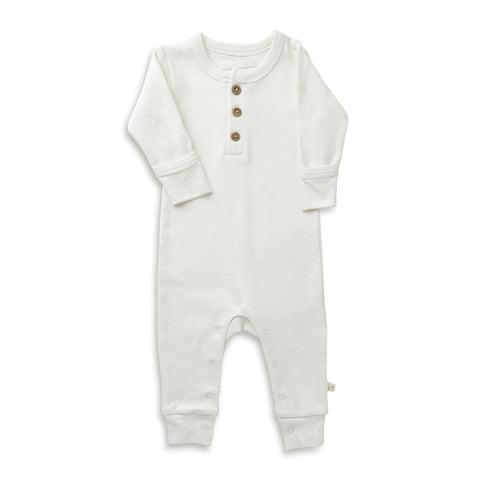 Organic Cotton Buttoned Romper - Stella Ivory