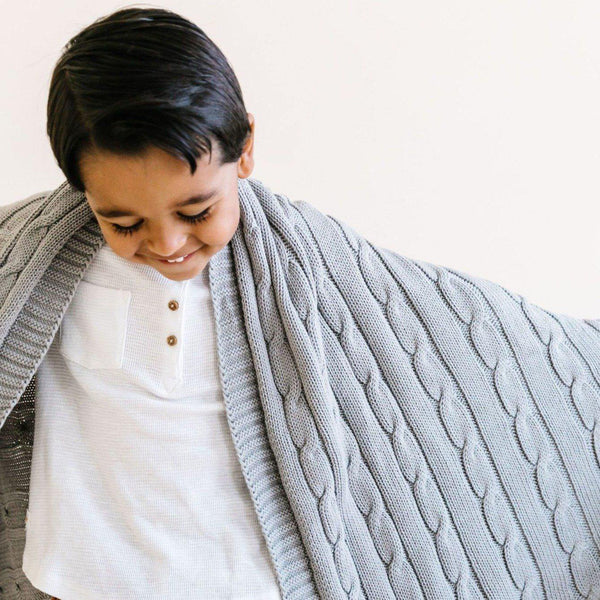 Organic Cotton Cable Knit Baby Blanket - Alba Gray-Makemake Organics