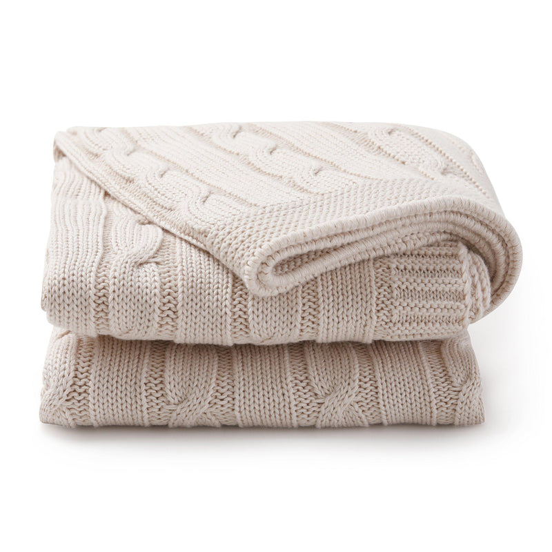 Organic Cotton Cable Knit Baby Blanket - Nora Shell-Makemake Organics