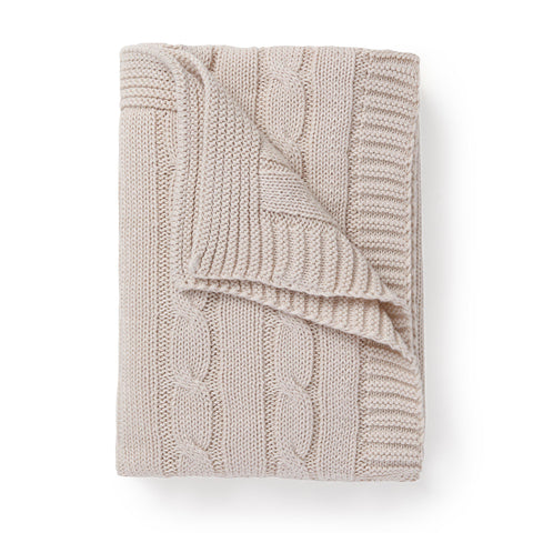 Organic Cotton Cable Knit Baby Blanket - Nora Shell