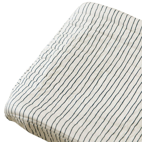 Organic Cotton Changing Pad Cover - Cobi Blue Stripes