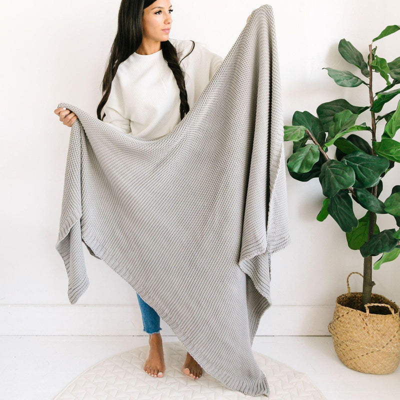 Organic Cotton Chunky Knit Throw Blanket - Alba Gray-Makemake Organics