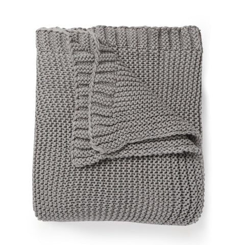 Organic Cotton Chunky Knit Throw Blanket - Alba Gray