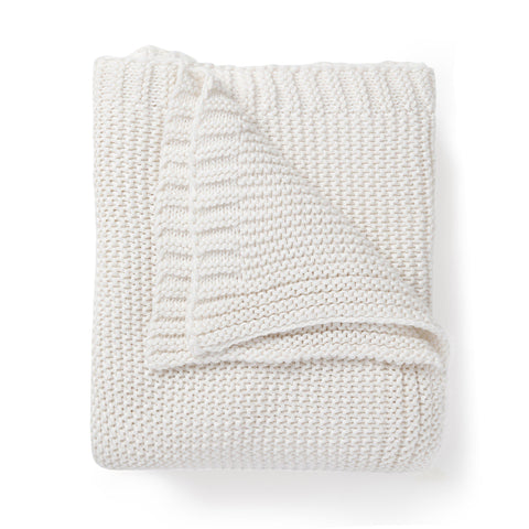 Organic Cotton Chunky Knit Throw Blanket - Ella Ivory