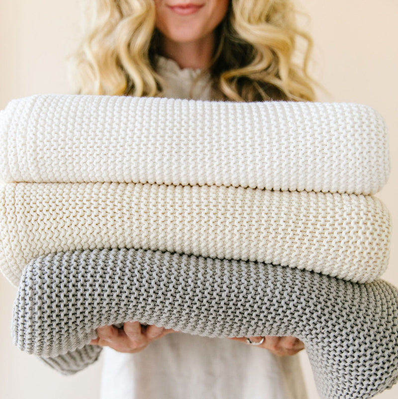 Organic Cotton Chunky Knit Throw Blanket - Natural-Makemake Organics