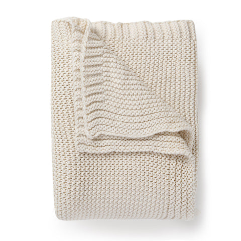 Organic Cotton Chunky Knit Throw Blanket - Natural