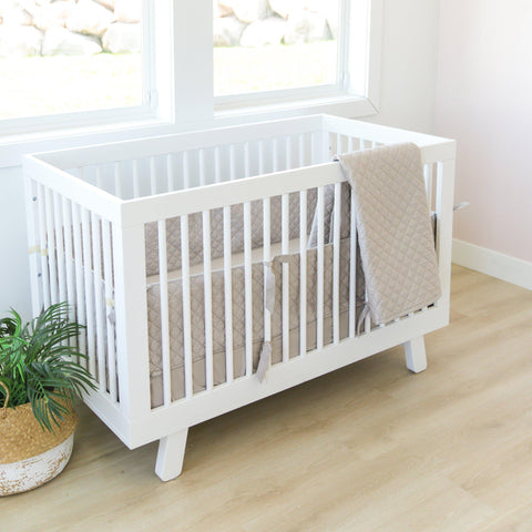 Organic Cotton Crib Bed Set - Noah Grey
