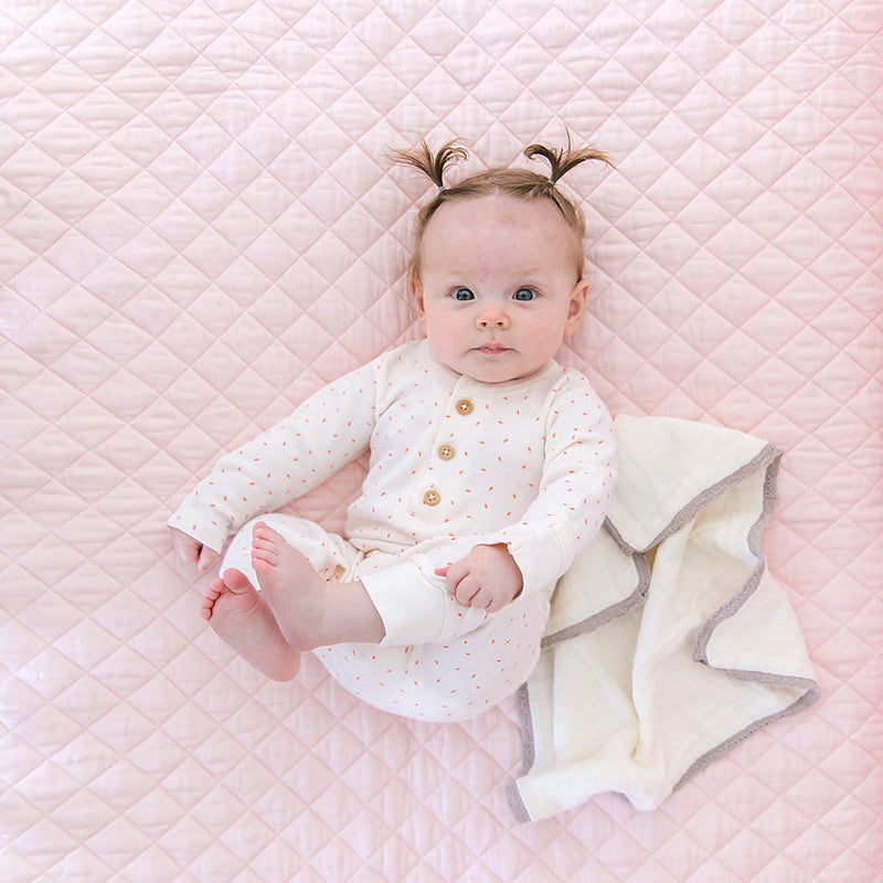 Organic Cotton Crib Bed Set - Peony Blush-Makemake Organics