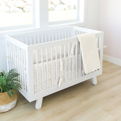 Organic Cotton Crib Bed Set - Vanilla White