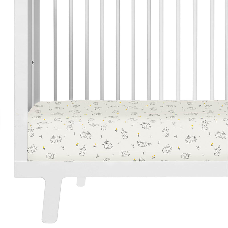 Organic Cotton Crib Fitted Sheet - Bunny in the Meadow-Makemake Organics