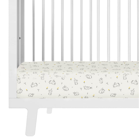 Organic Cotton Crib Fitted Sheet - Bunny in the Meadow
