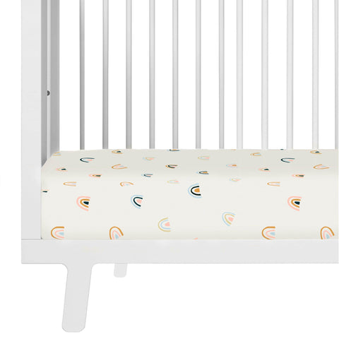 Organic Cotton Crib Fitted Sheet - Over The Rainbow