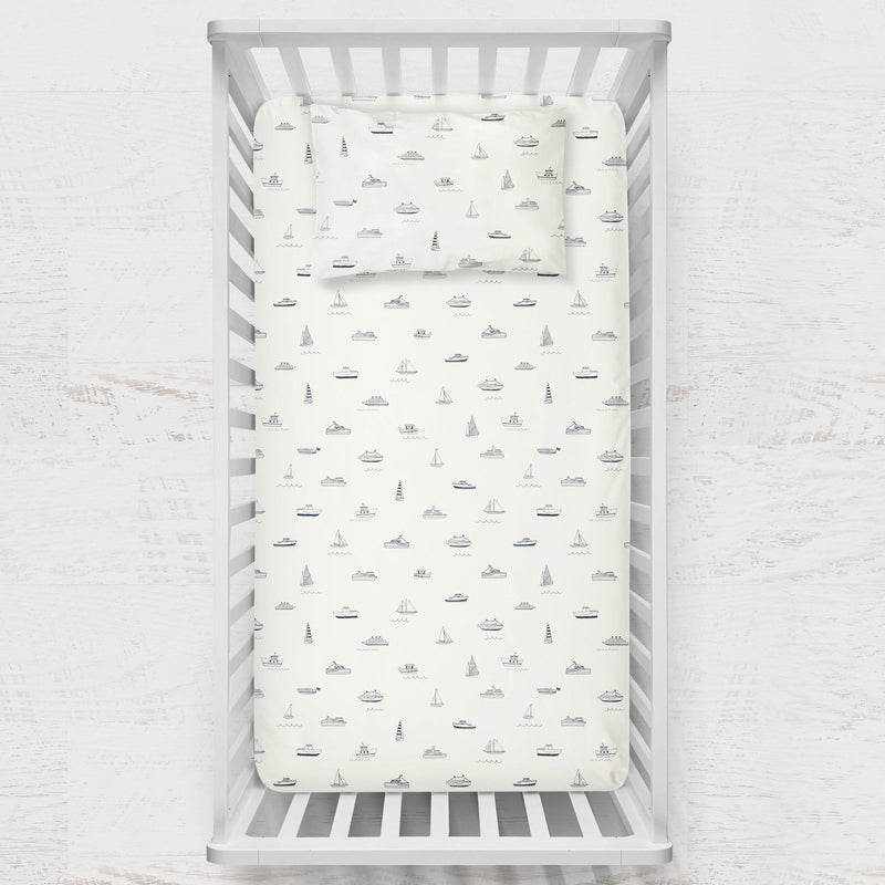 Organic Cotton Crib Fitted Sheet - Sail Away-Makemake Organics