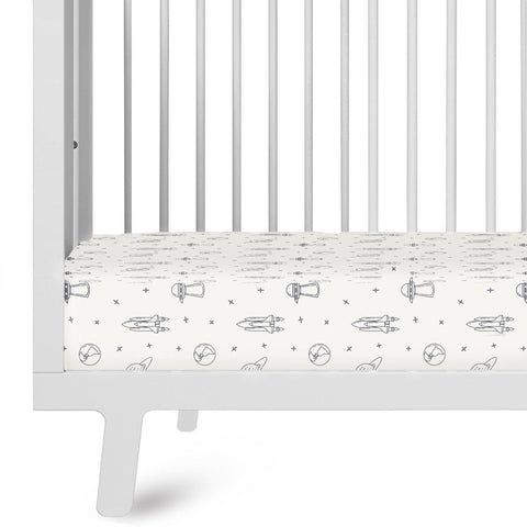 Organic Cotton Crib Sheet Set - Cobi Blue Celestial