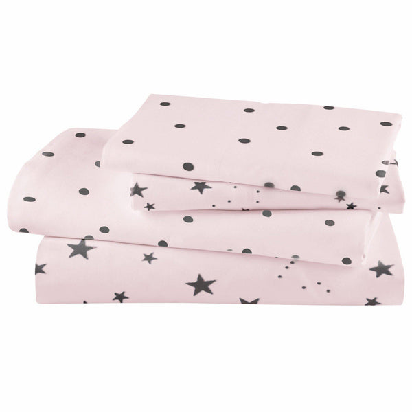 Organic Cotton Crib Sheet Set - Grey Stars And Polka on Lola Bush-Makemake Organics
