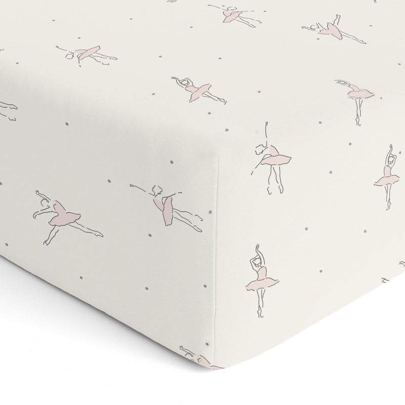 Organic Cotton Crib Sheet Set - Lola Blush Ballerina Twirl-Makemake Organics