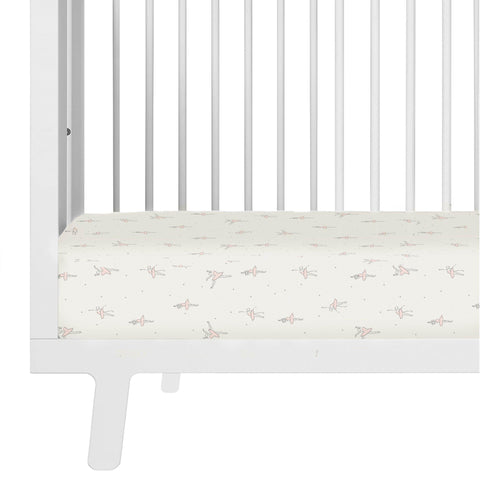 Organic Cotton Crib Sheet Set - Lola Blush Ballerina Twirl