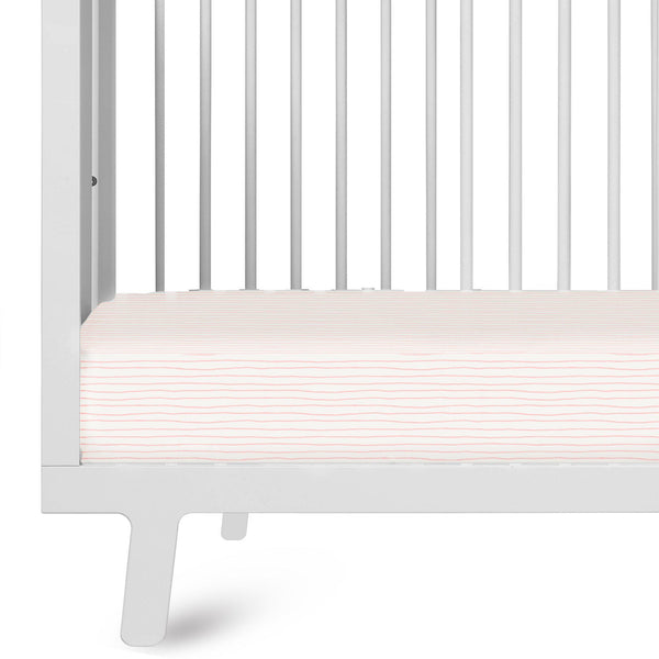 Organic Cotton Crib Sheet Set - Lola Blush Groovy Stripes-Makemake Organics