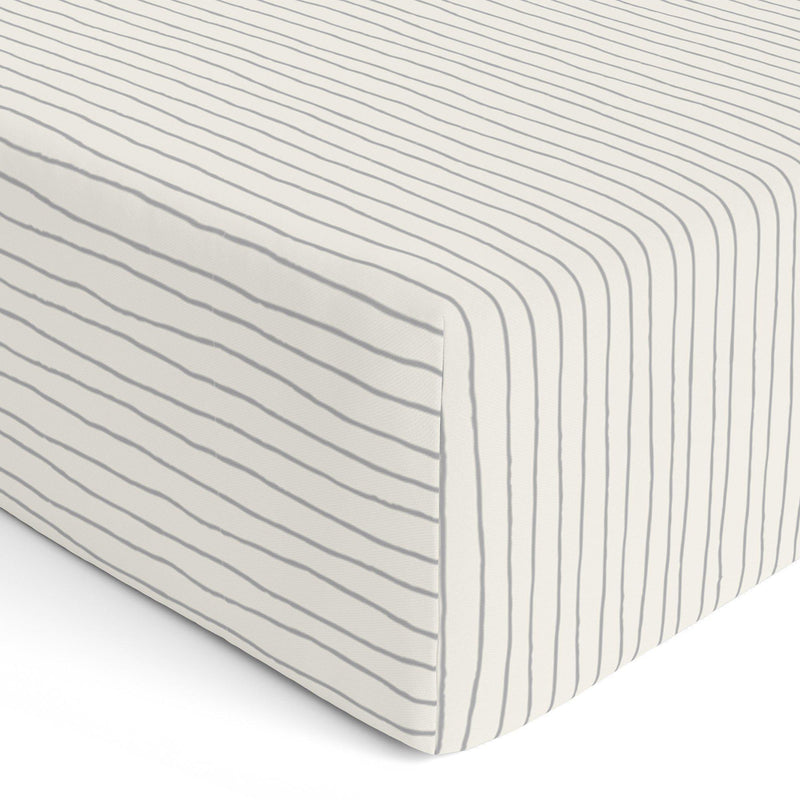 Organic Cotton Crib Sheet Set - Thistle Grey Groovy Stripes-Makemake Organics