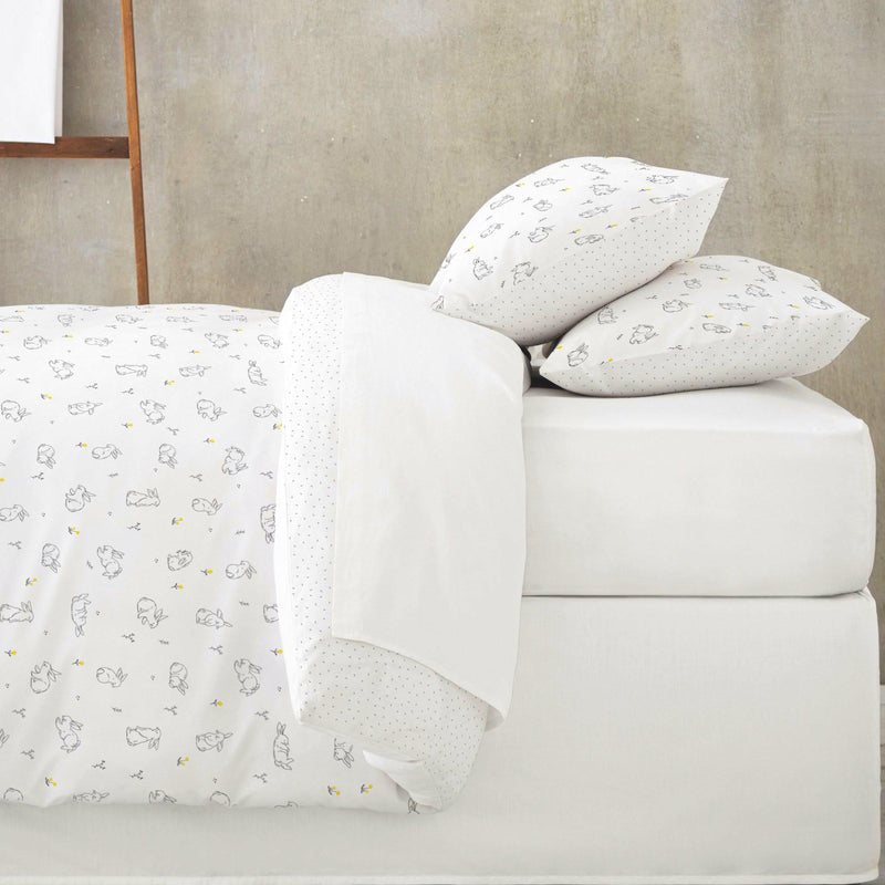 Organic Cotton Duvet Cover - Bunny in the Meadow / Grey Fleck-Makemake Organics