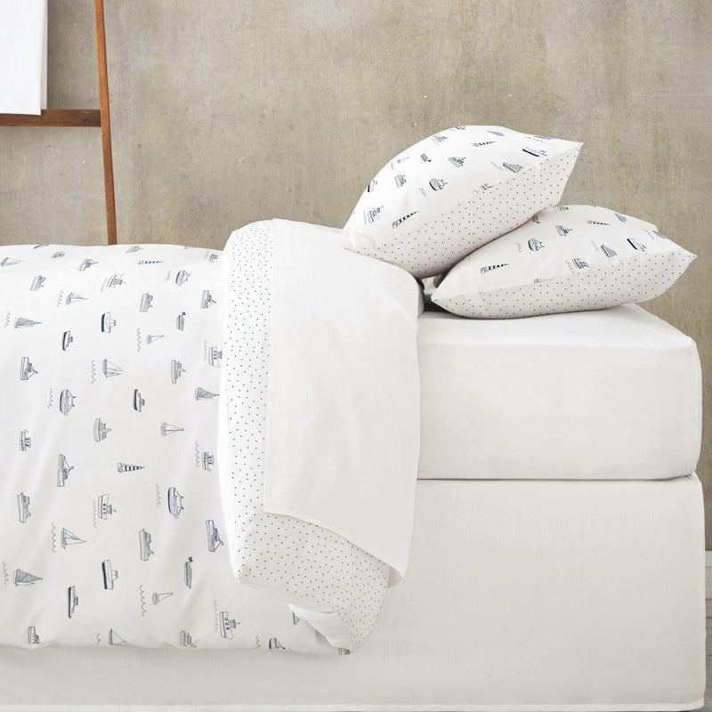 Organic Cotton Duvet Cover - Sail Away / Blue Fleck-Makemake Organics