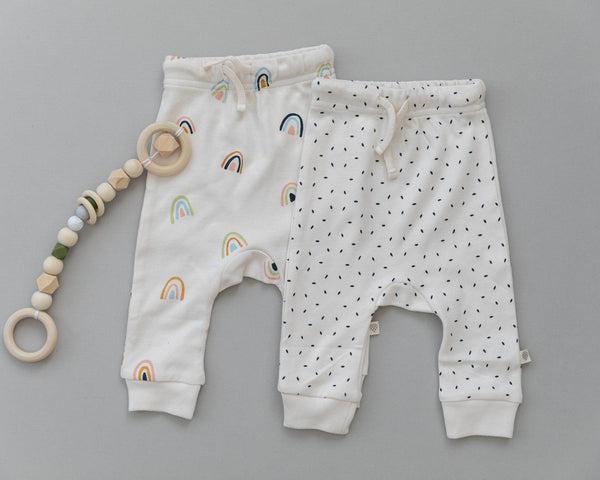 Organic Cotton Harem Pants - Cobi Blue Fleck-Makemake Organics