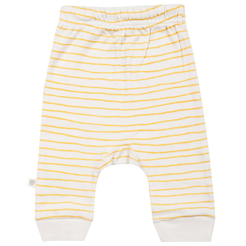 Organic Cotton Harem Pants - Luna Yellow Stripes-Makemake Organics