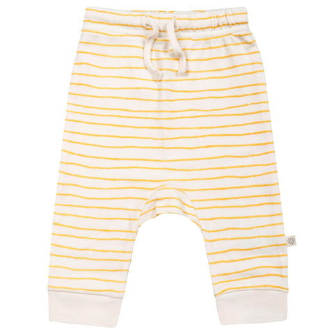 Organic Cotton Harem Pants - Luna Yellow Stripes