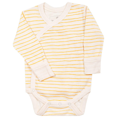 Organic Cotton Kimono Bodysuit - Luna Yellow Stripes