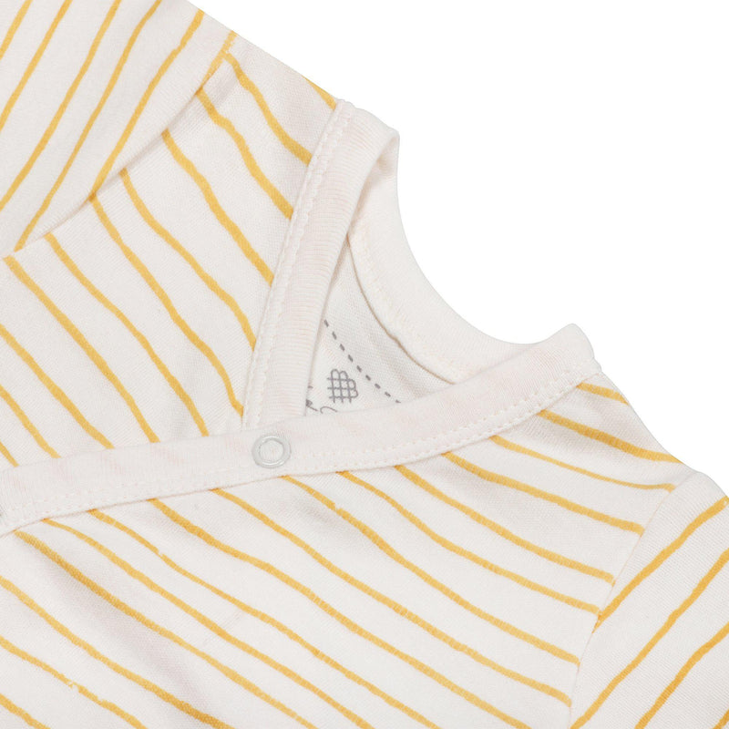 Organic Cotton Kimono Sleep Gown - Luna Yellow Stripes-Makemake Organics