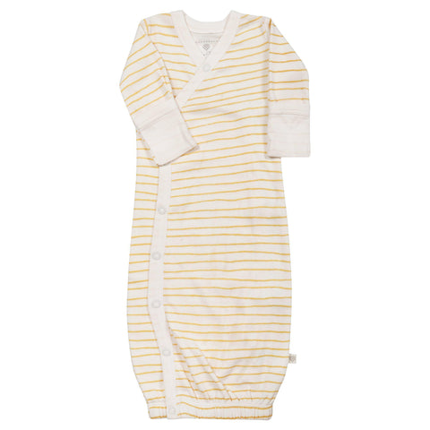 Organic Cotton Kimono Sleep Gown - Luna Yellow Stripes