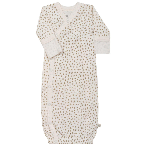 Organic Cotton Kimono Sleep Gown - Nola Brown Dots-Makemake Organics