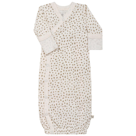 Organic Cotton Kimono Sleep Gown - Nola Brown Dots