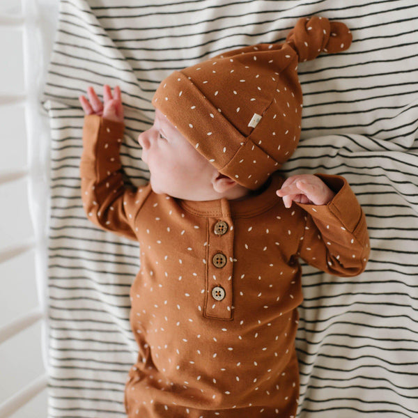Organic Cotton Knotted Sleep Gown - Aubrey Ginger Fleck-Makemake Organics