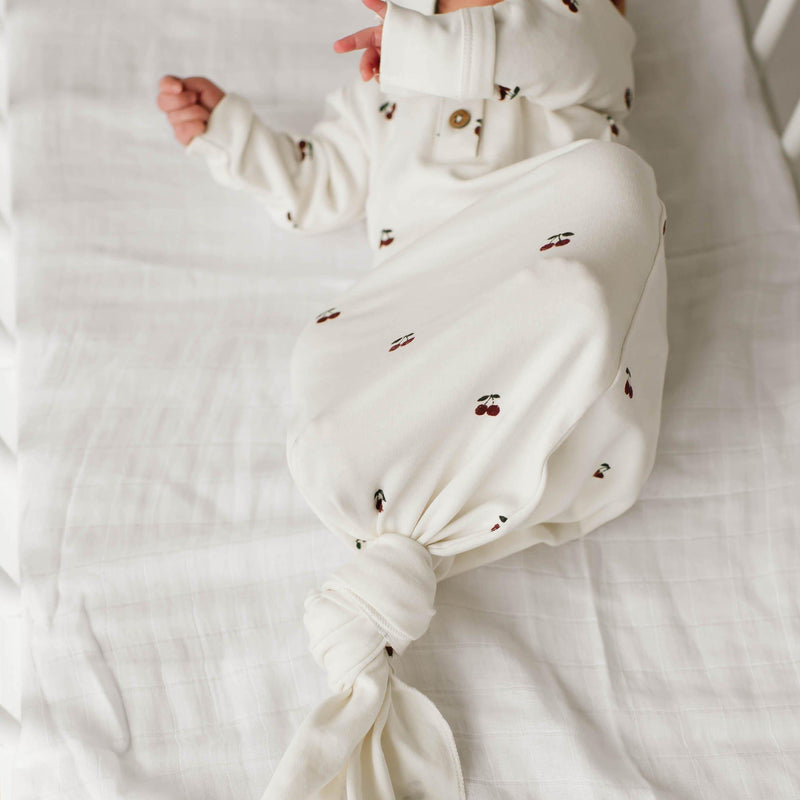 Organic Cotton Knotted Sleep Gown - Cherry-Makemake Organics