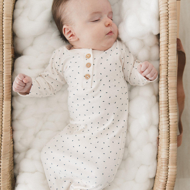 Organic Cotton Knotted Sleep Gown - Cobi Blue Fleck-Makemake Organics